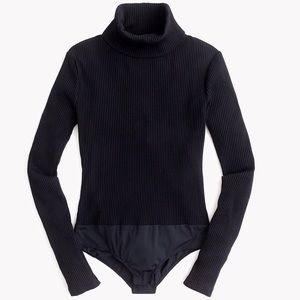 J crew rubbed knit turtleneck bodysuit black